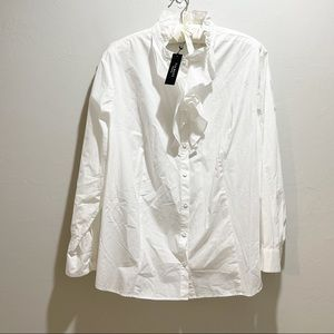 TALBOTS Plus Ruffle Front Button Down Blouse